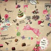 Cuke cake Macaron y fondo color galleta